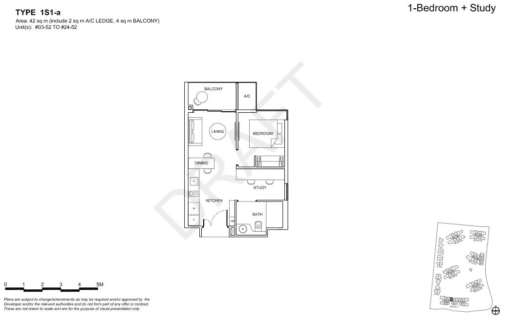 Floorplan 1Br + Study, Type 1S1-a (Showroom unit)