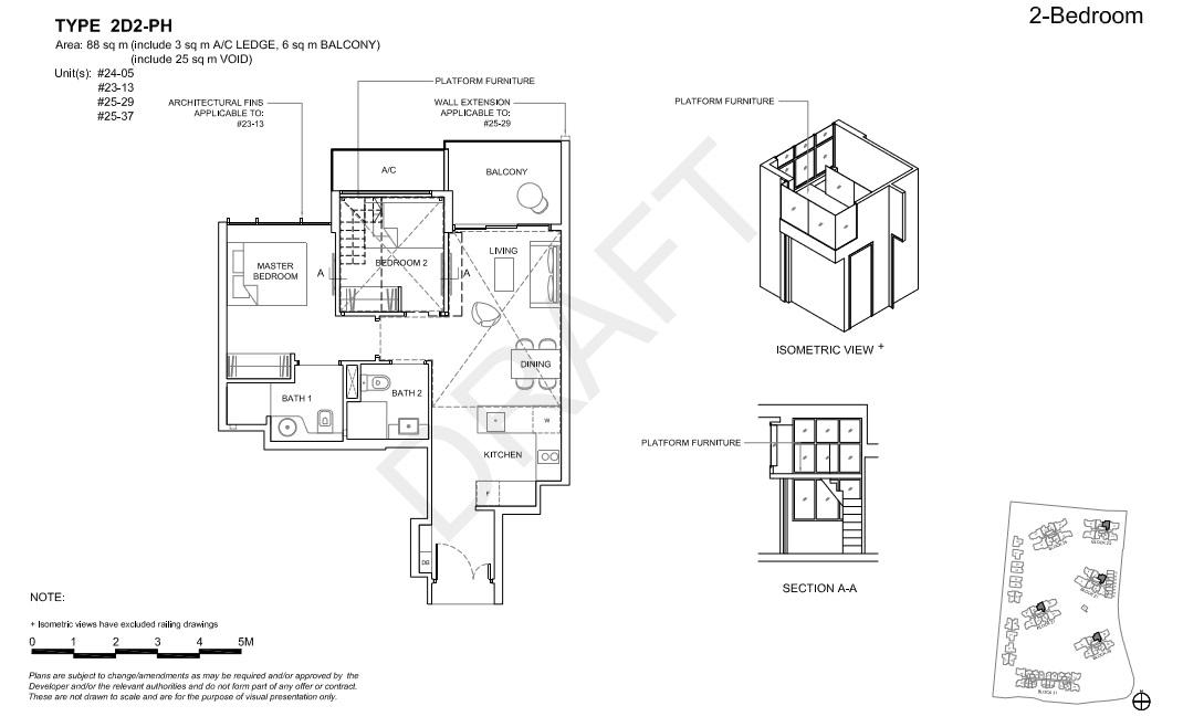 Floorplan 2Br Deluxe Penthouse, Type 2D2-PH  (Showroom unit)