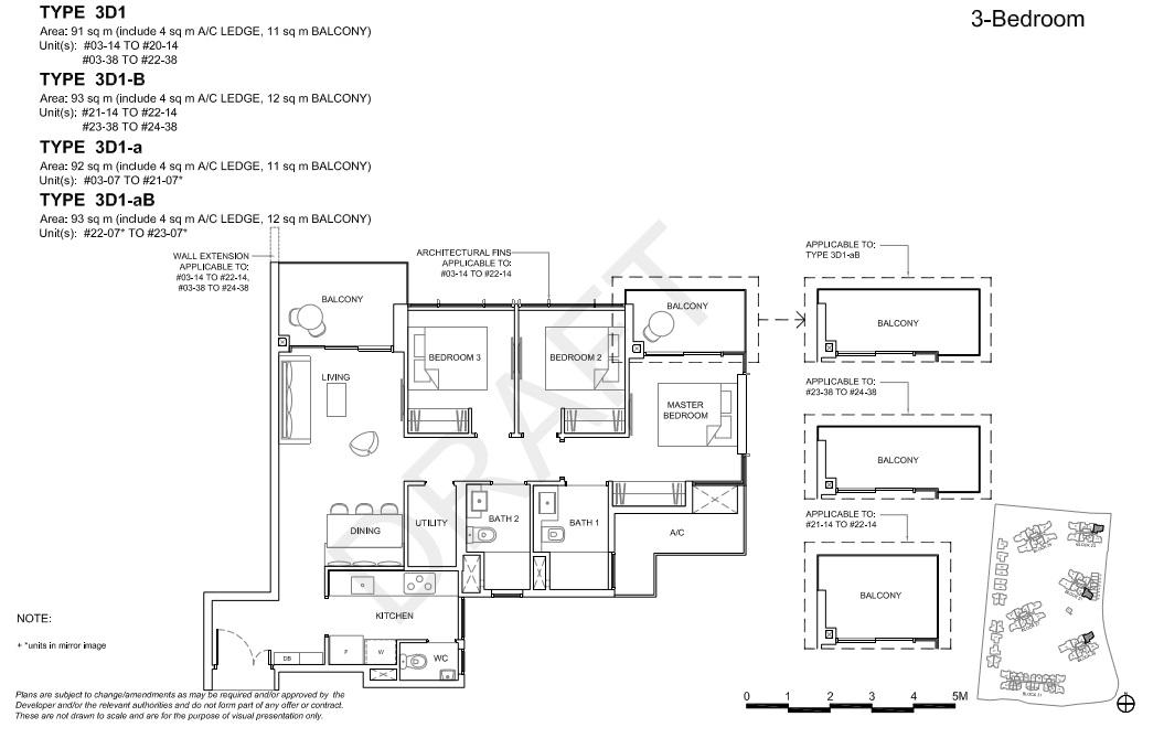 Floorplan 3Br Deluxe, Type 3D1  (Showroom unit)