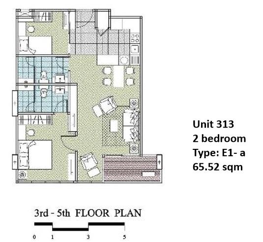 Floorplan Type E1A - 2 bed