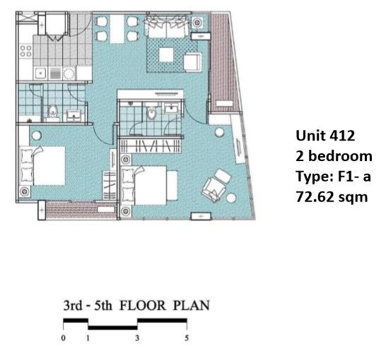 Floorplan Type F1A - 2 bed