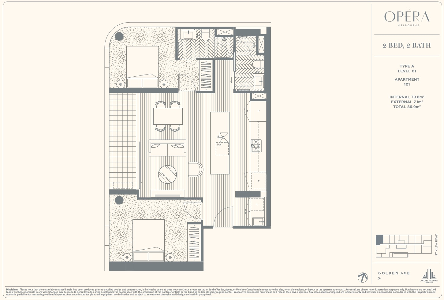 Floor Plan Type A - 2Bed2Bath