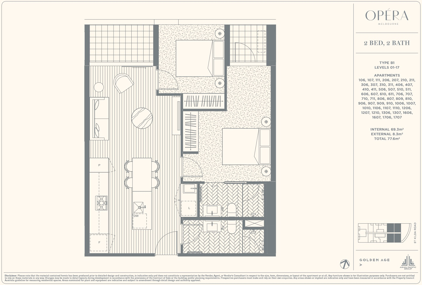 Floor Plan Type B1 - 2Bed2Bath