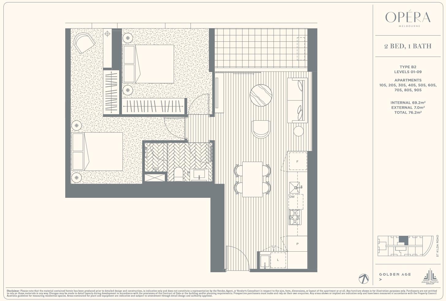 Floor Plan Type B2 - 2Bed1Bath