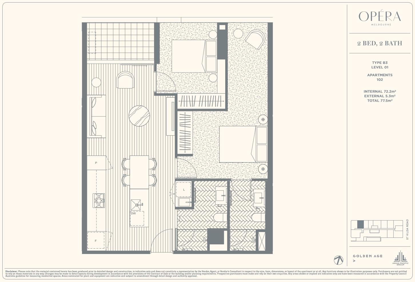 Floor Plan Type B3 - 2Bed2Bath