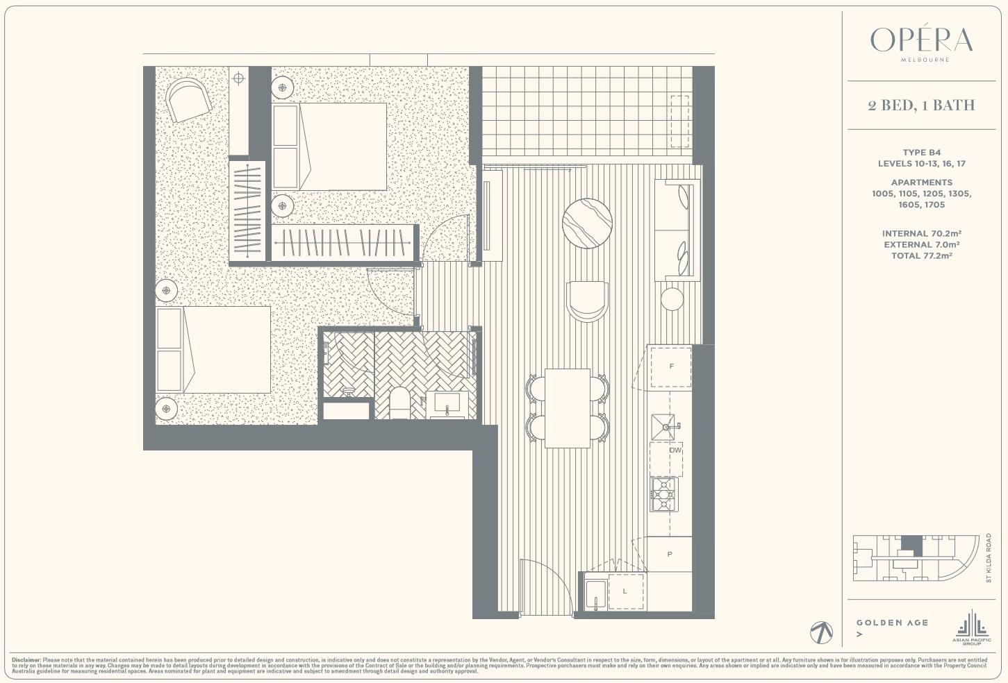 Floor Plan Type B4 - 2Bed1Bath