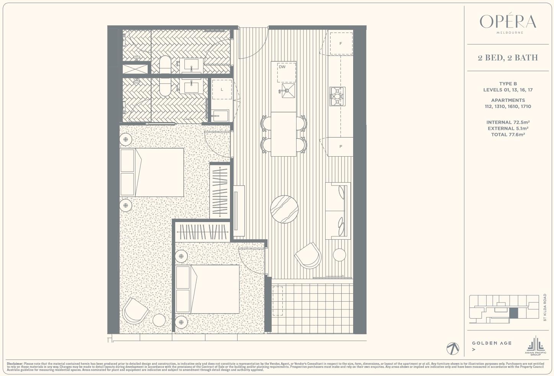 Floor Plan Type B - 2Bed2Bath