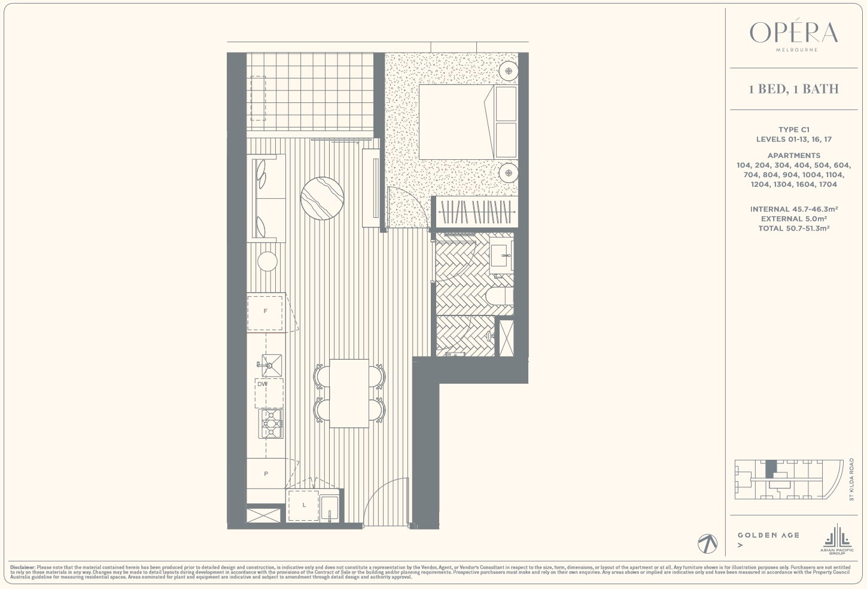 Floor Plan Type C1 - 1Bed1Bath