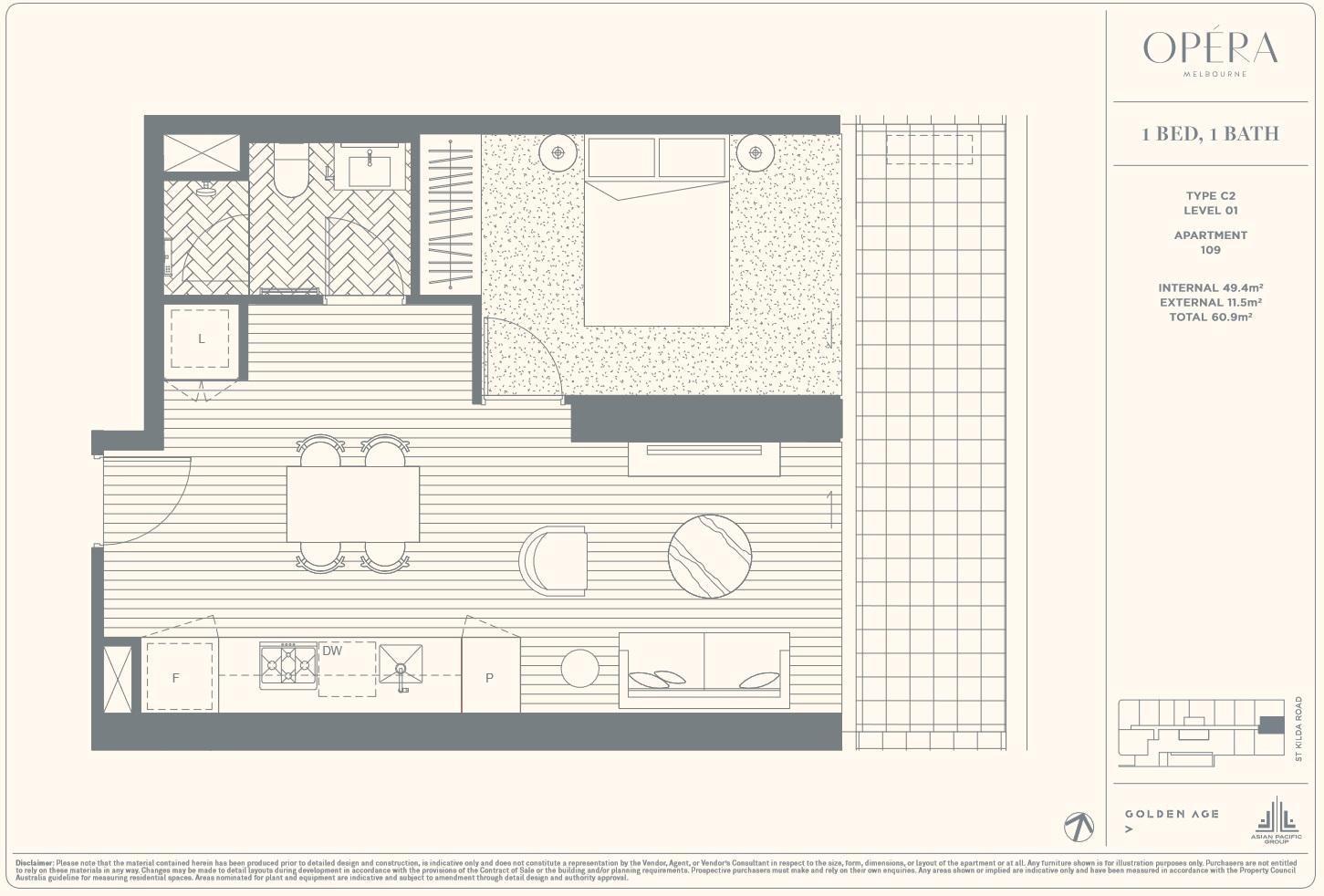 Floor Plan Type C2 - 1Bed1Bath