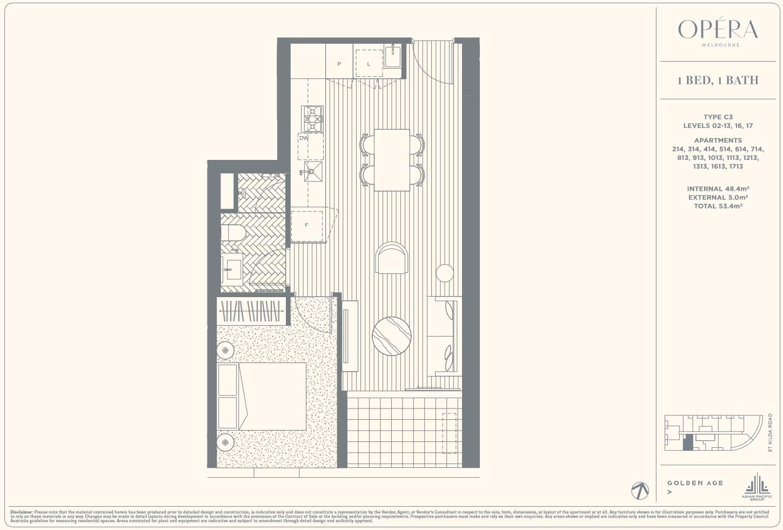Floor Plan Type C3 - 1Bed1Bath