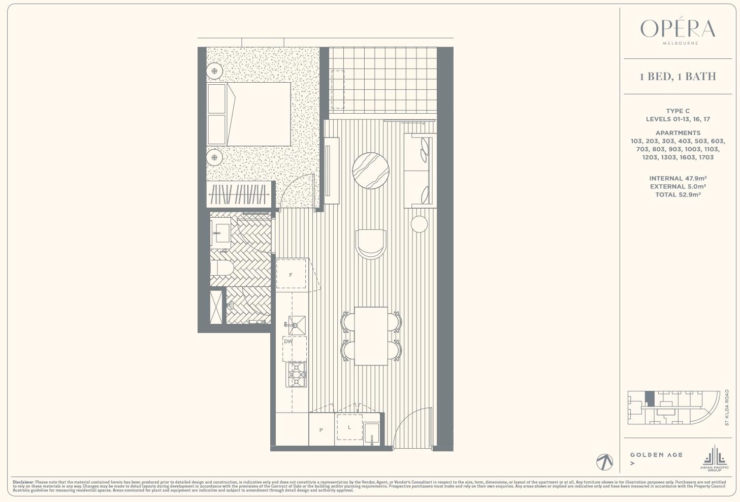 Floor Plan Type C - 1Bed1Bath