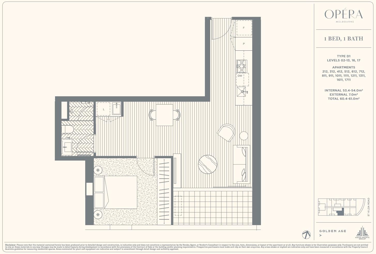 Floor Plan Type D1 - 1Bed1Bath