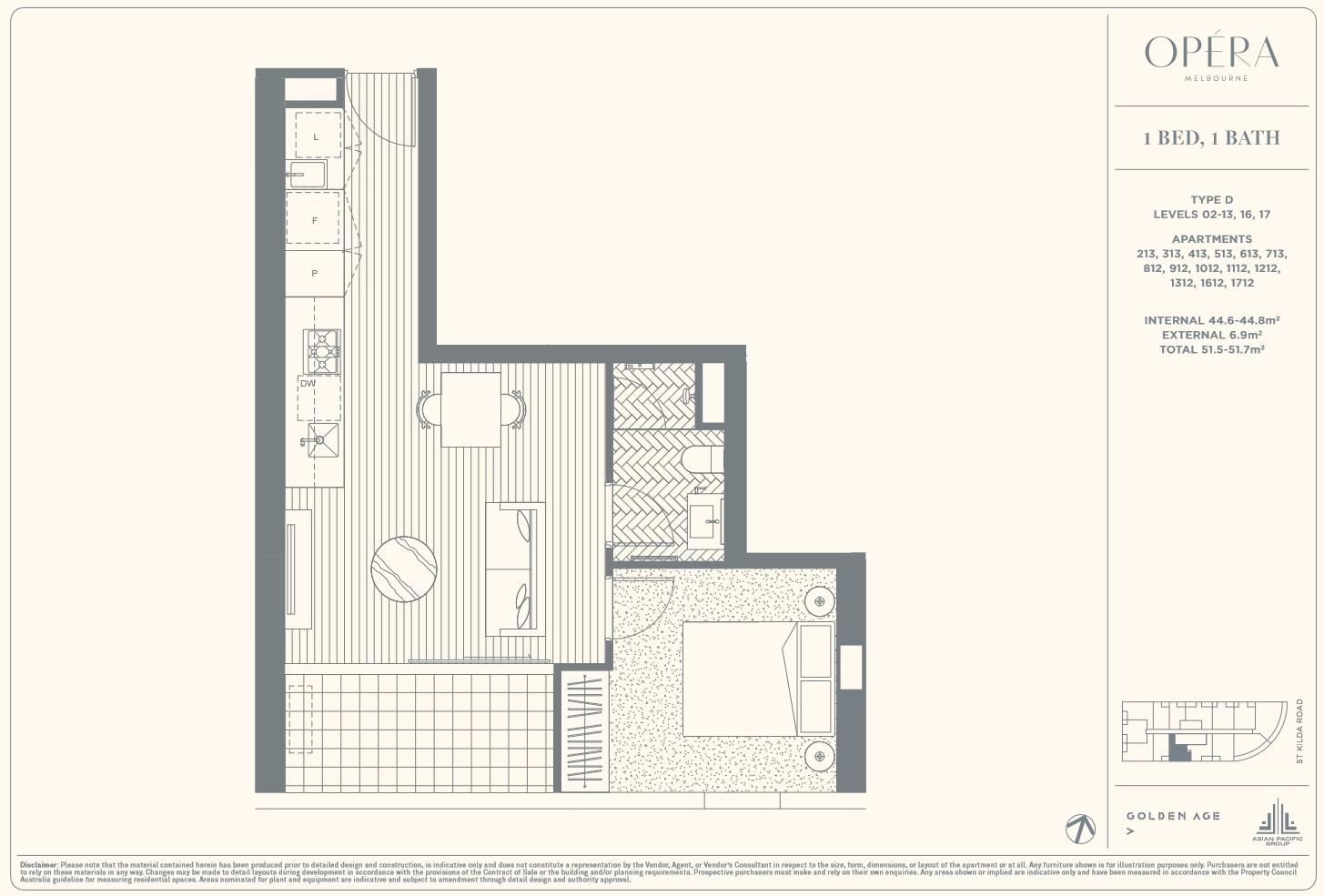 Floor Plan Type D - 1Bed1Bath