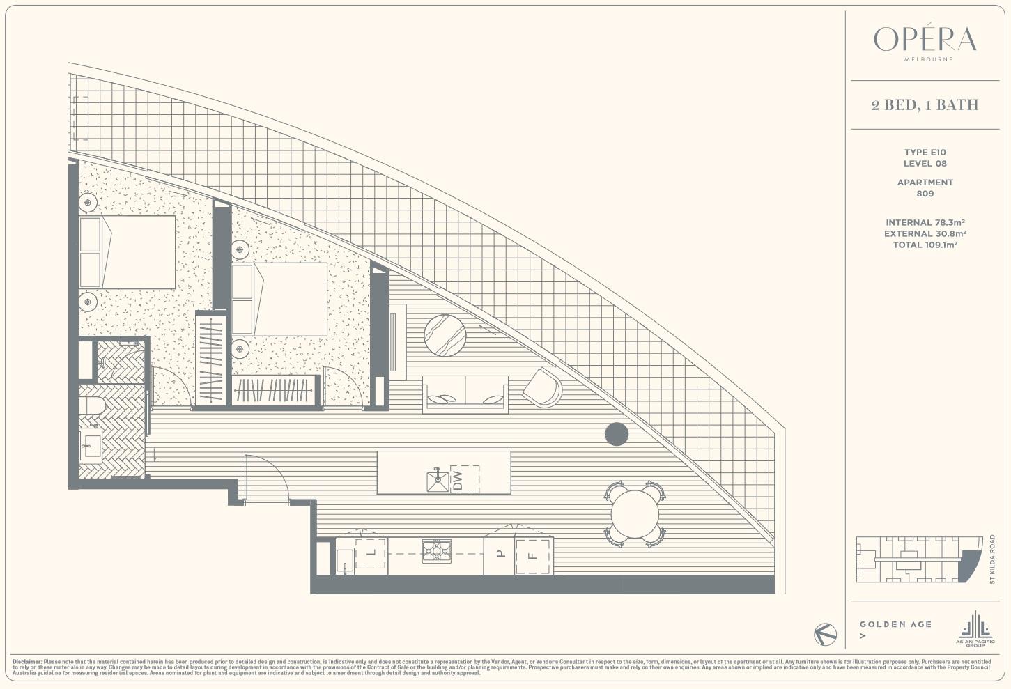 Floor Plan Type E10 - 2Bed1Bath