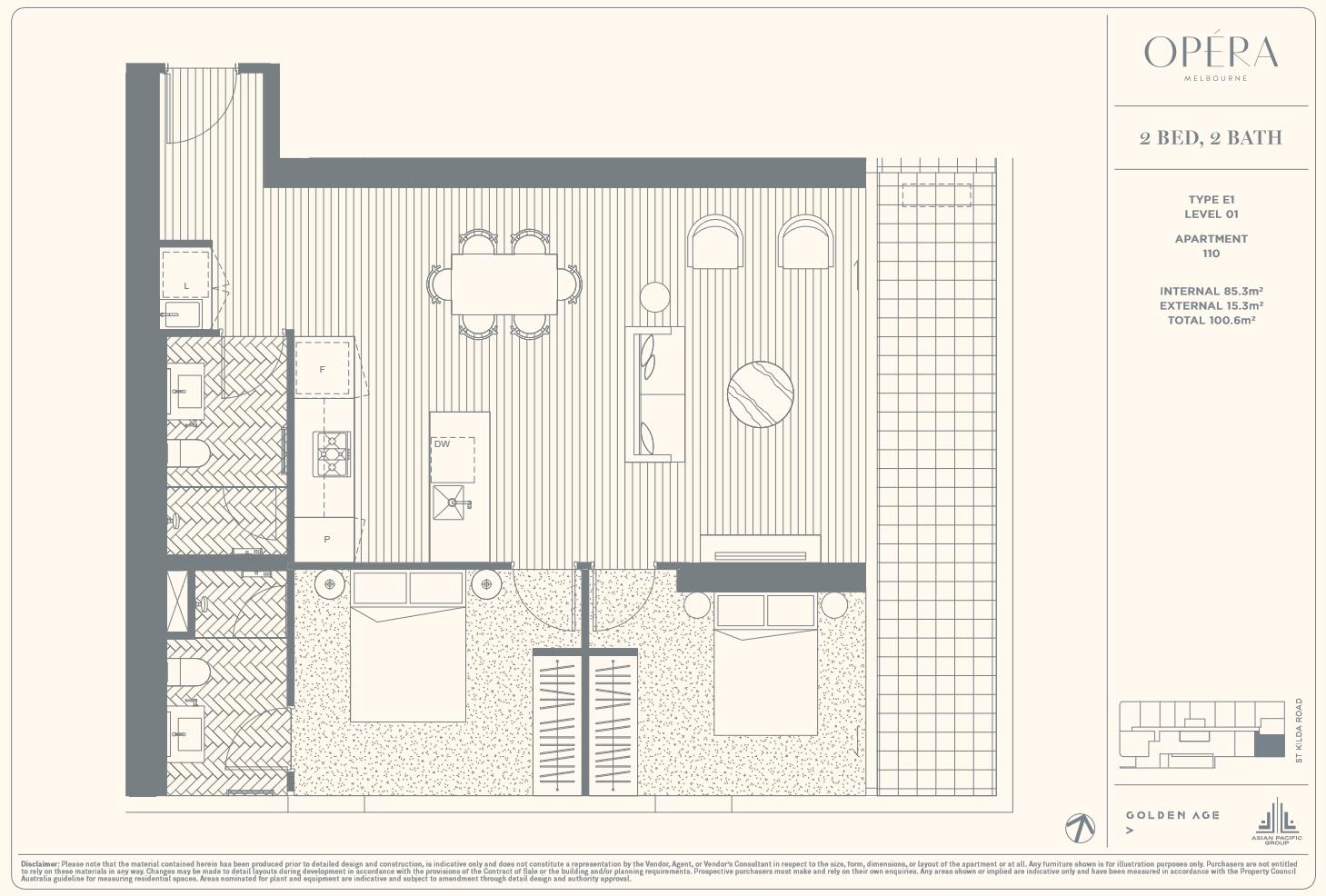 Floor Plan Type E1 - 2Bed2Bath