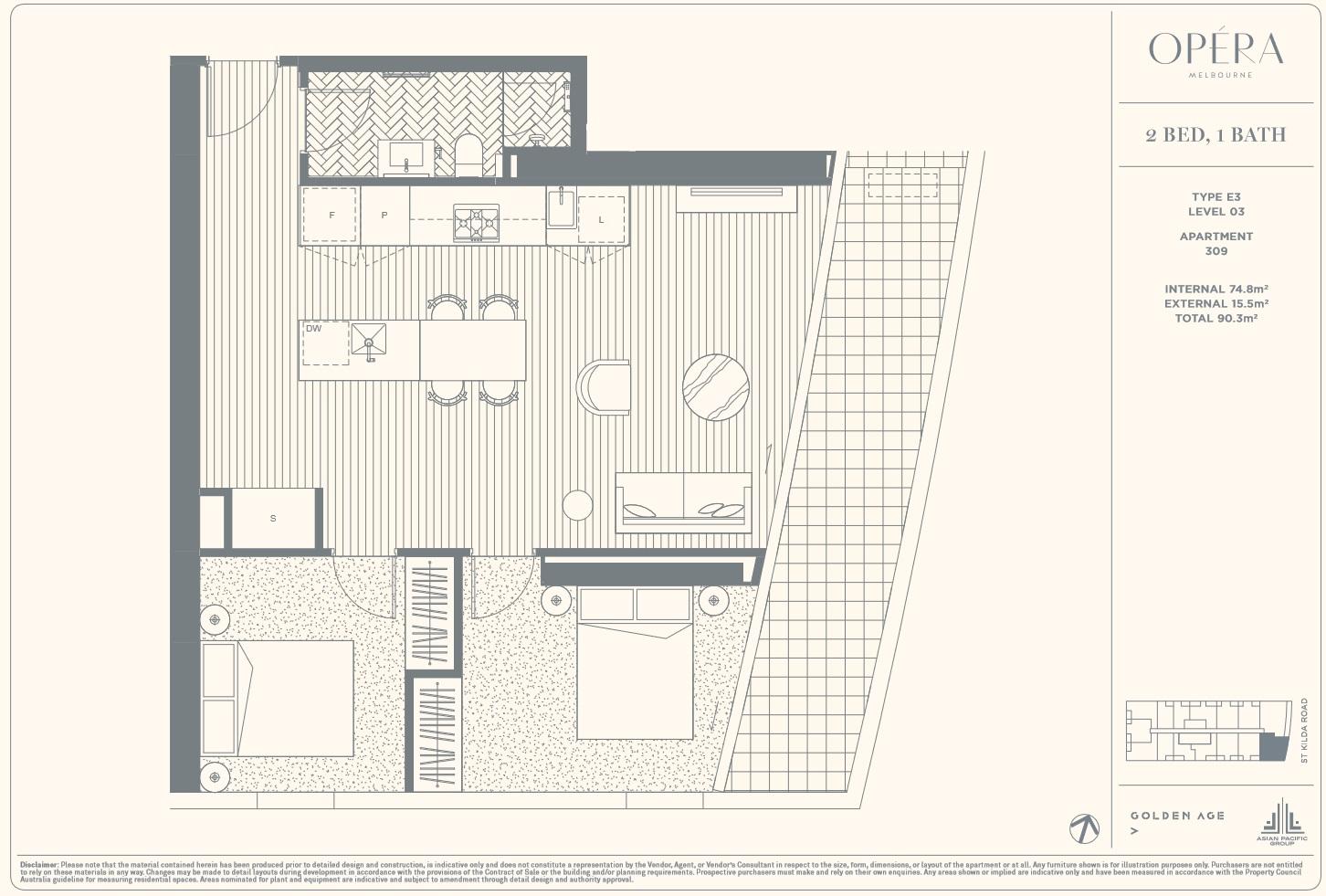 Floor Plan Type E3 - 2Bed1Bath