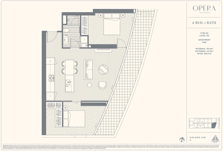 Floor Plan Type E5 - 2Bed1Bath
