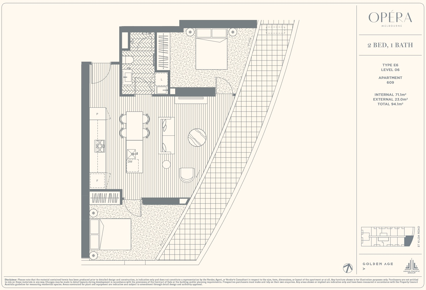 Floor Plan Type E6 - 2Bed1Bath