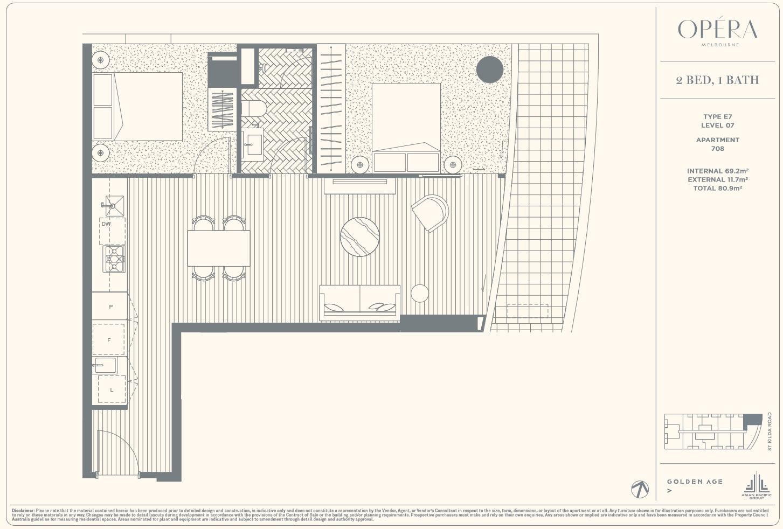 Floor Plan Type E7 - 2Bed1Bath