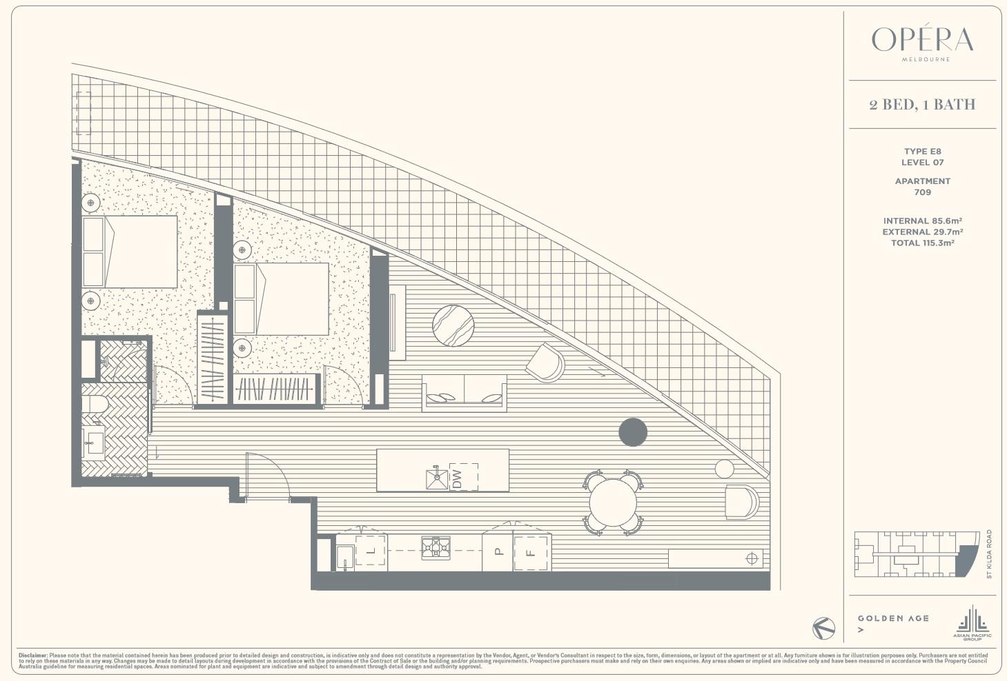 Floor Plan Type E8 - 2Bed1Bath