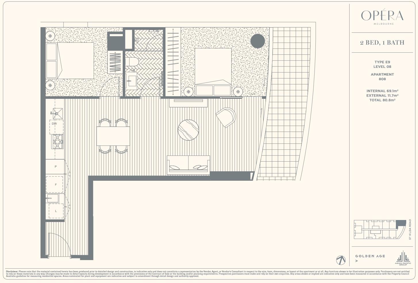 Floor Plan Type E9 - 2Bed1Bath