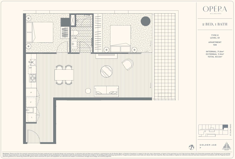 Floor Plan Type E - 2Bed1Bath