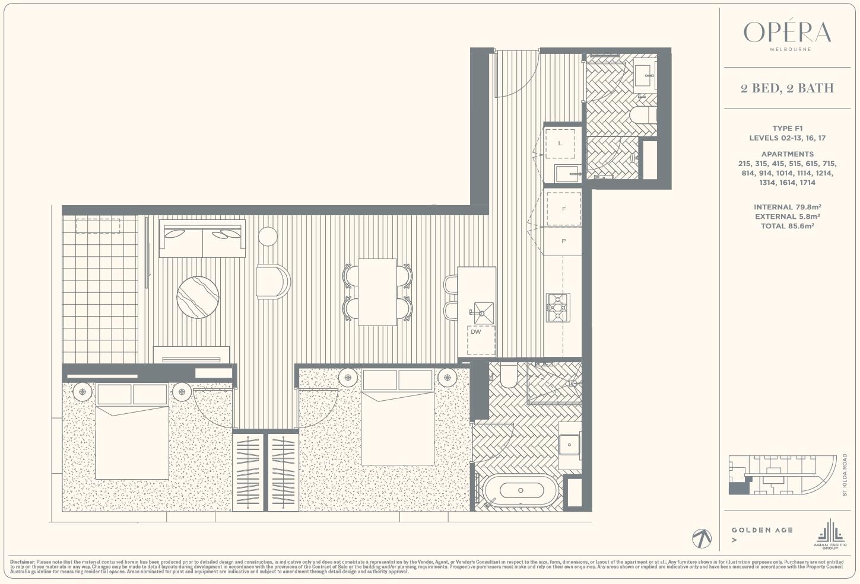 Floor Plan Type F1 - 2Bed2Bath