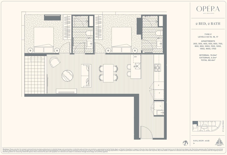 Floor Plan Type F - 2Bed2Bath