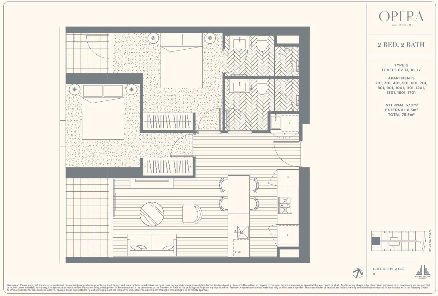 Floor Plan Type G - 2Bed2Bath