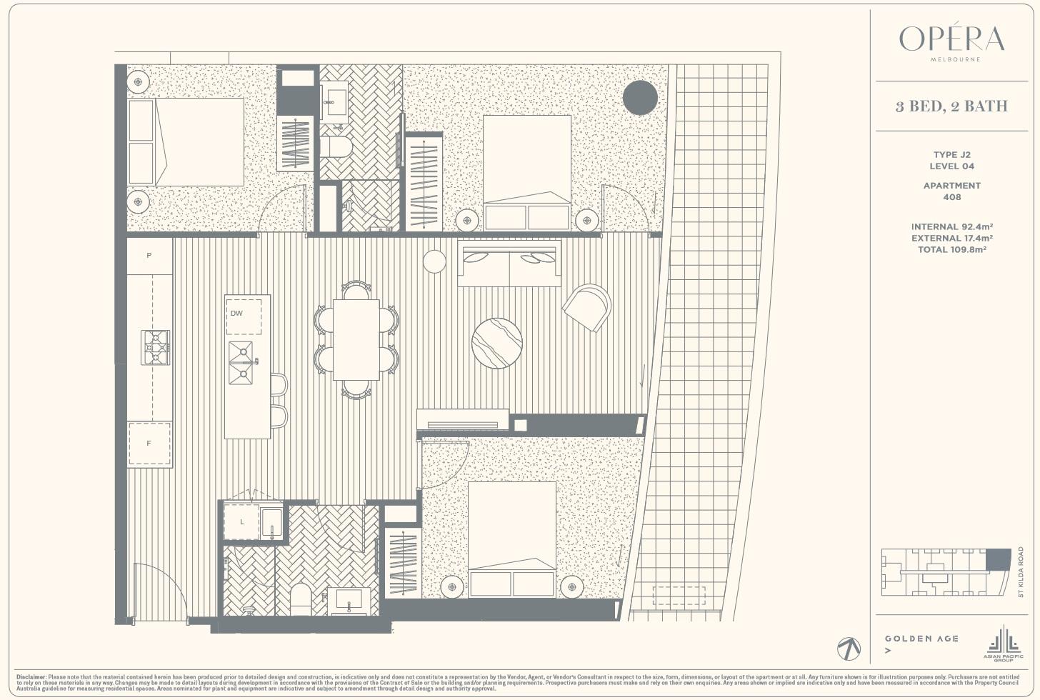 Floor Plan Type J2 - 3Bed2Bath