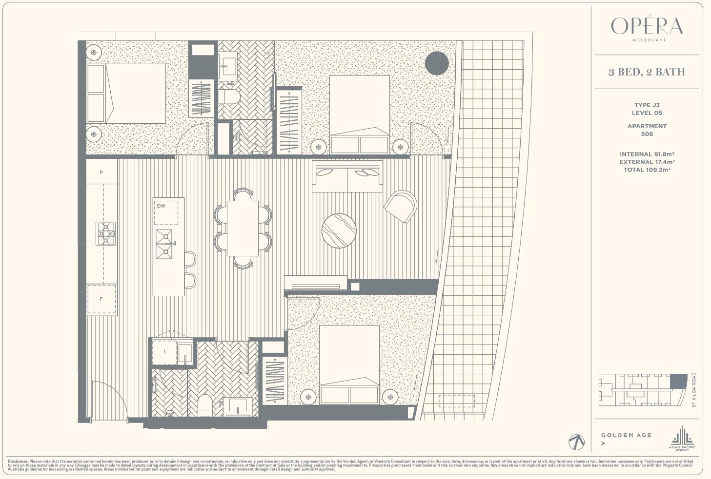Floor Plan Type J3 - 3Bed2Bath