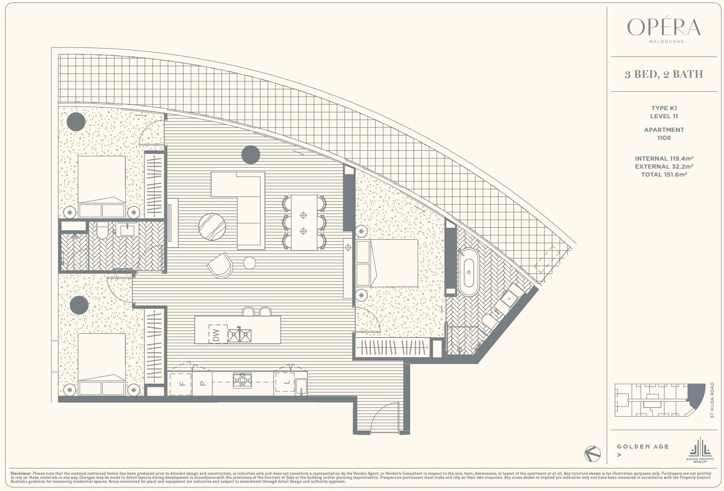 Floor Plan Type K1 - 3Bed2Bath