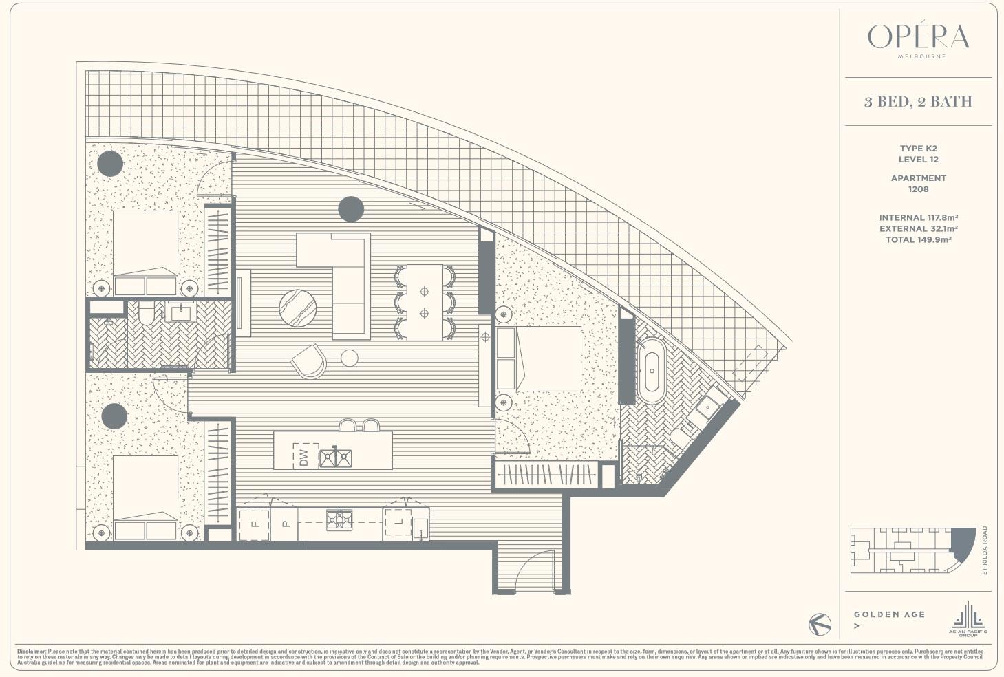 Floor Plan Type K2 - 3Bed2Bath