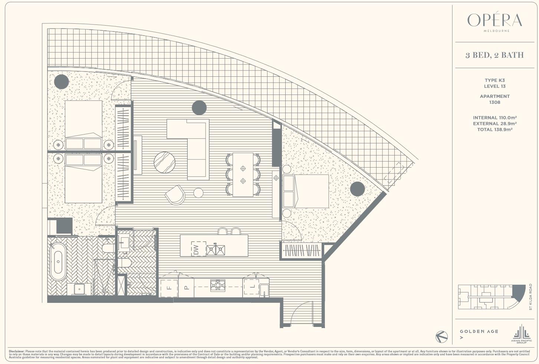 Floor Plan Type K3 - 3Bed2Bath