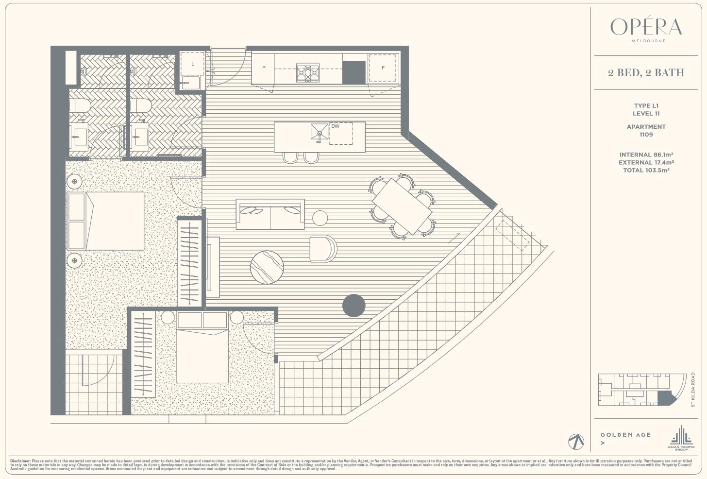 Floor Plan Type L1 - 2Bed2Bath