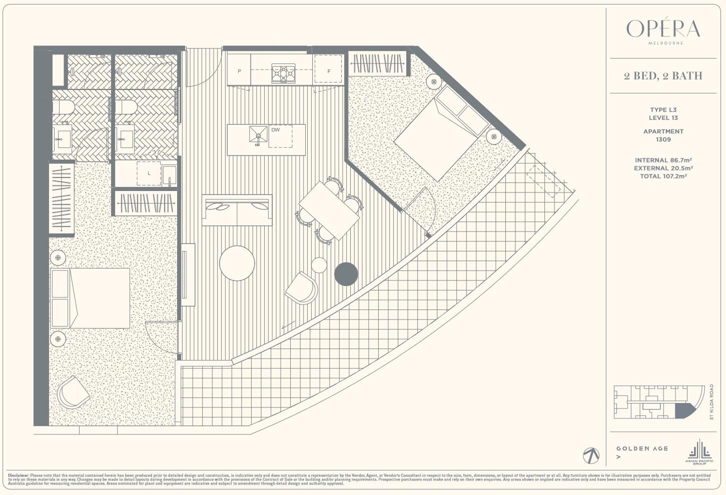 Floor Plan Type L3 - 2Bed2Bath