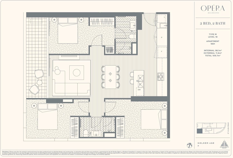 Floor Plan Type M - 3Bed2Bath
