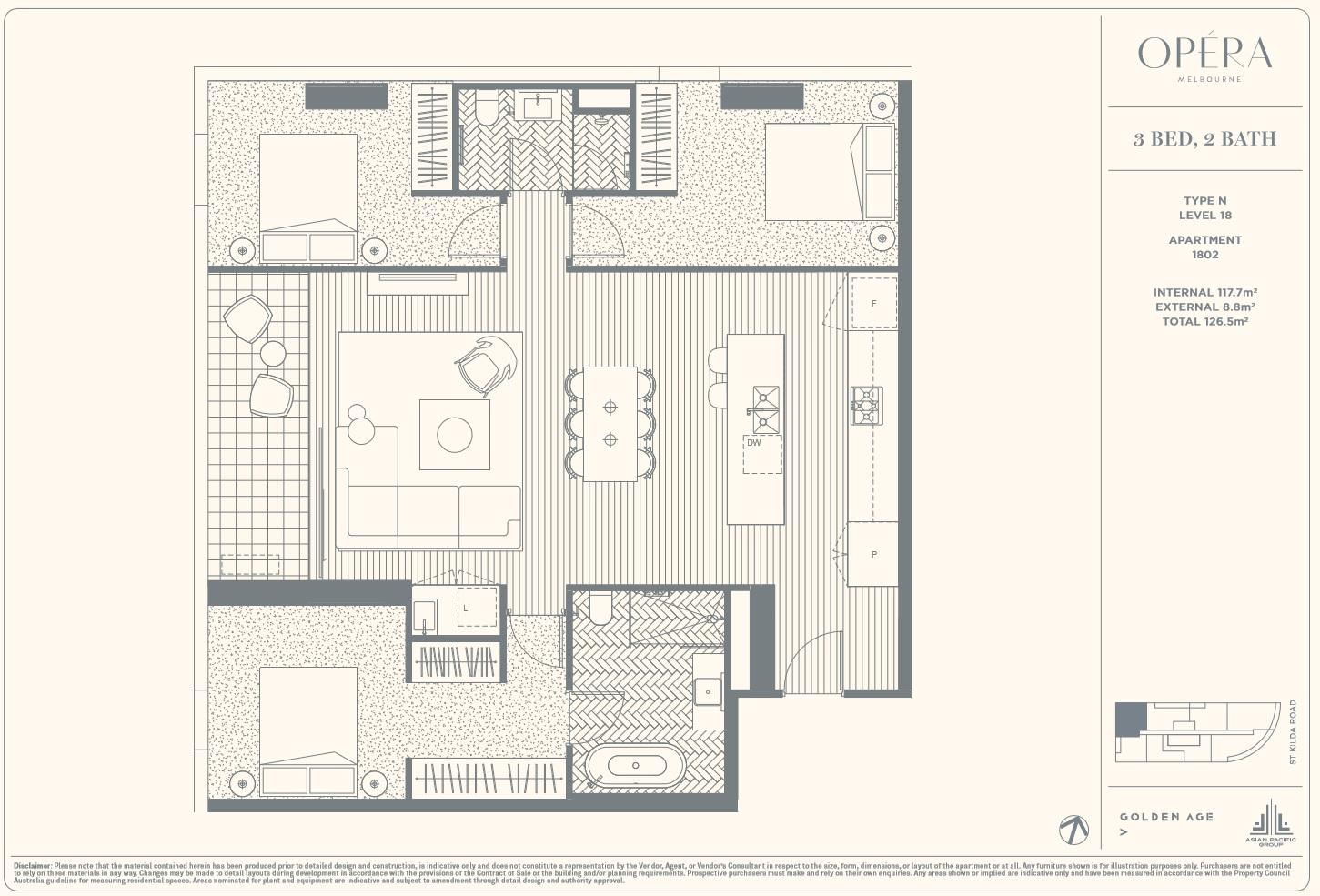 Floor Plan Type N - 3Bed2Bath