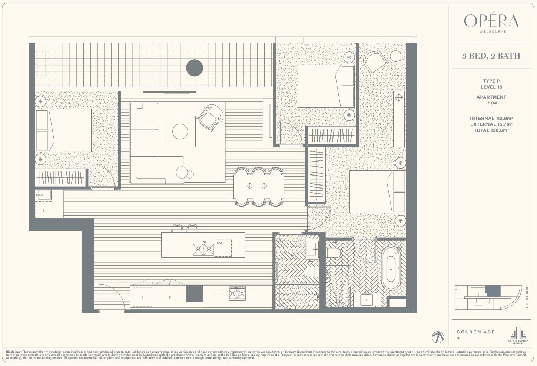 Floor Plan Type P - 3Bed2Bath