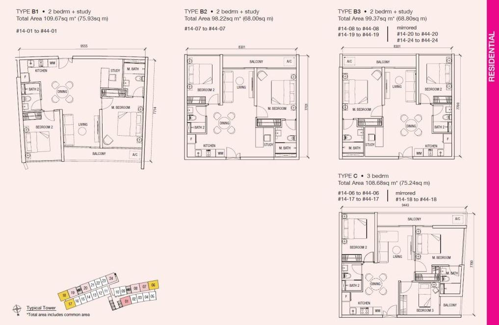 Floorplan - Residential 2 & 3 bedroom