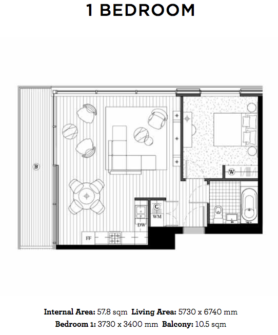 Royal Wharf Floor Plan - 1 Bedroom