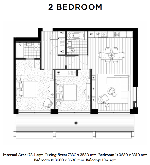 Royal Wharf Floor Plan - 2 Bedroom