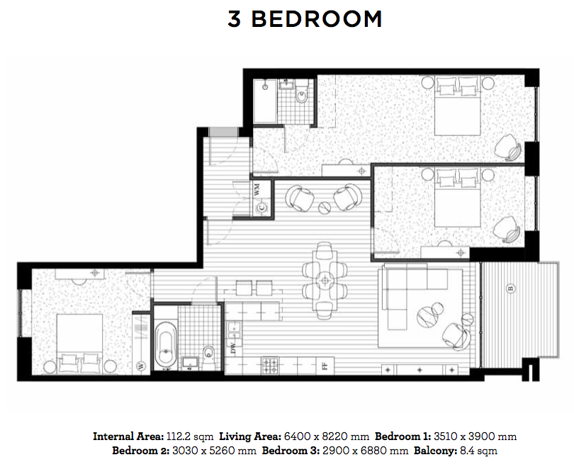 Royal Wharf Floor Plan - 3 Bedroom