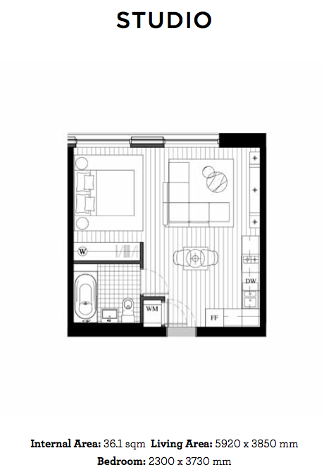 Royal Wharf Floor Plan - Studio