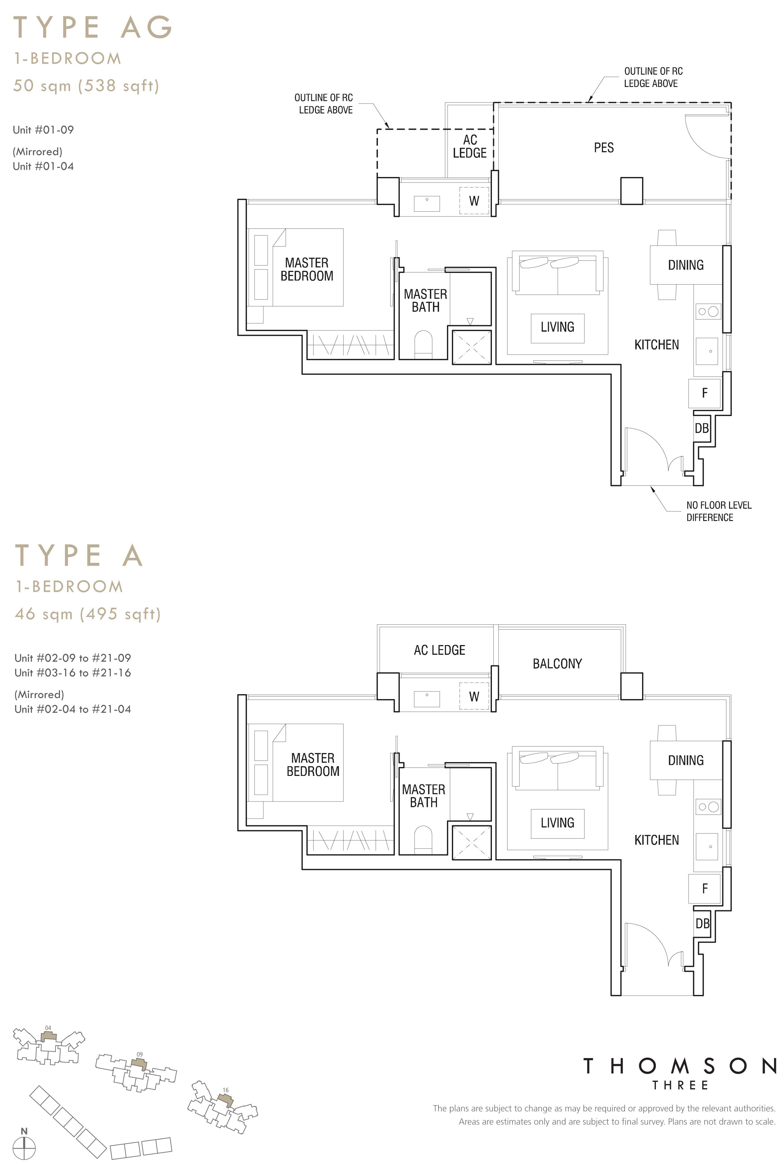 1 BR (Type A, Type AG)