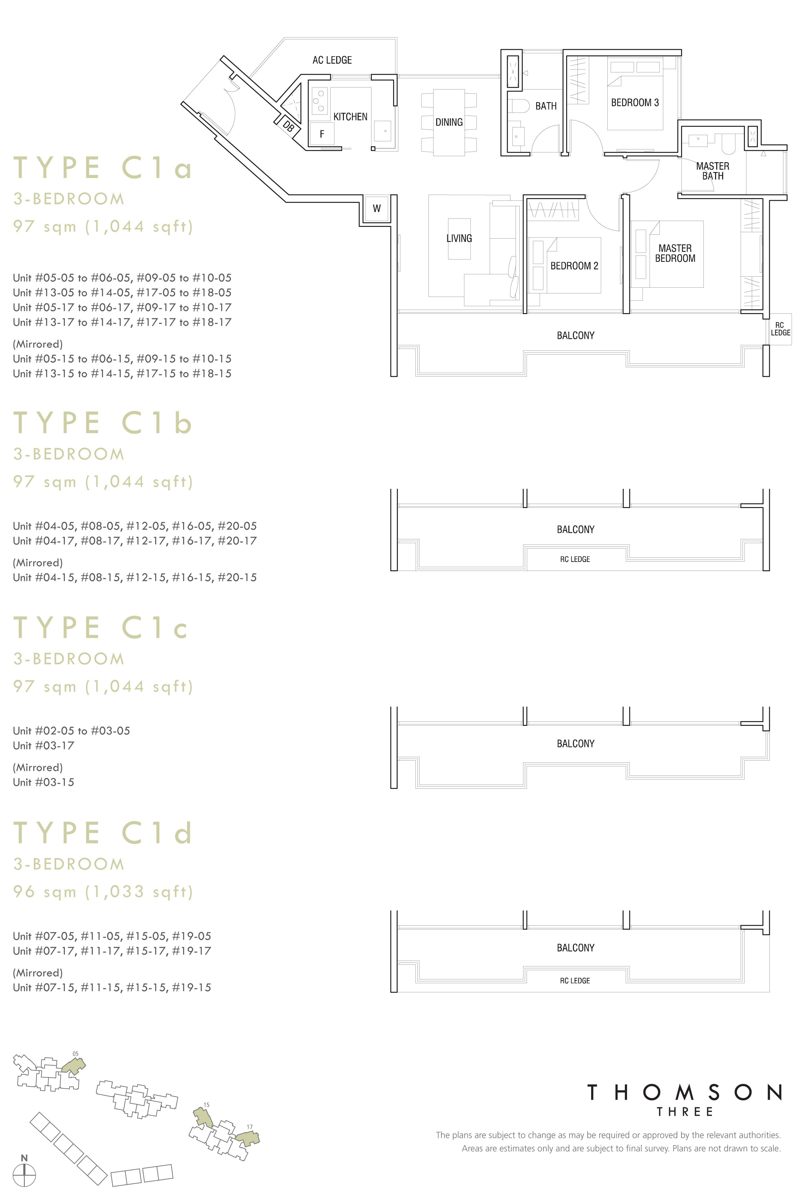 3 Br (Type C1a, Type C1b, Type C1c, Type C1d)