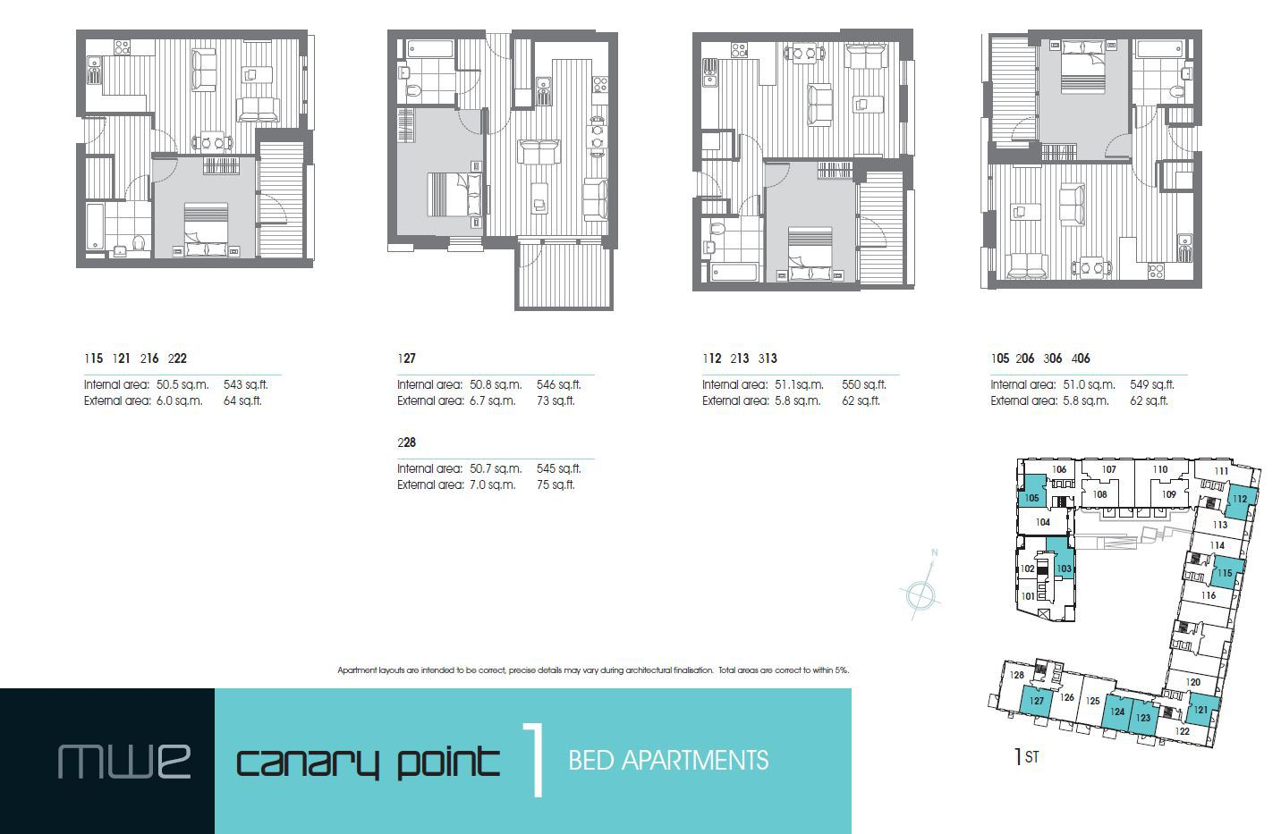 Marina Wharf East London Canary Point - 1 Bedroom Floor Plan