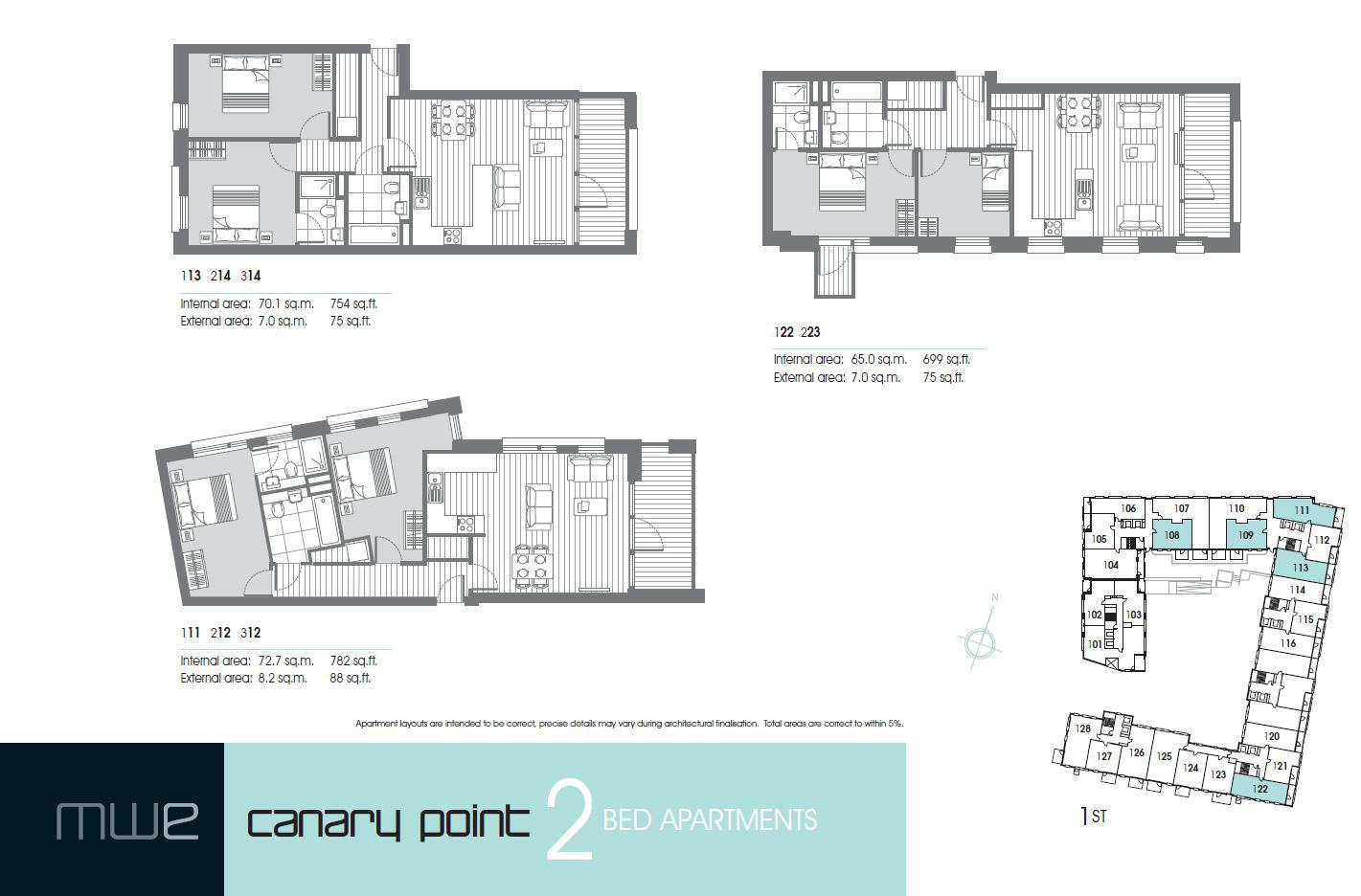 Marina Wharf East London Canary Point - 2 Bedroom Floor Plan
