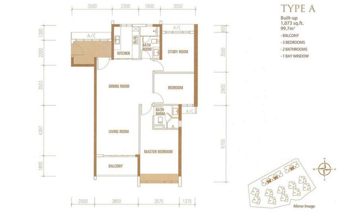 Princess Cove - Floorplan - Type A - 1073 sqft