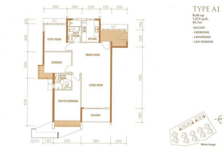 Princess Cove - Floorplan - Type A1- 1073 sqft